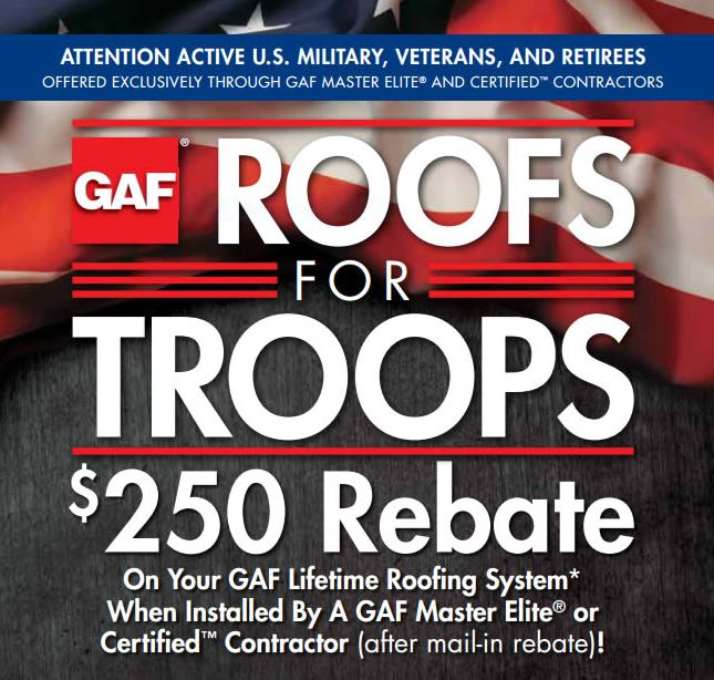 GAF Roofs for troops military rebate